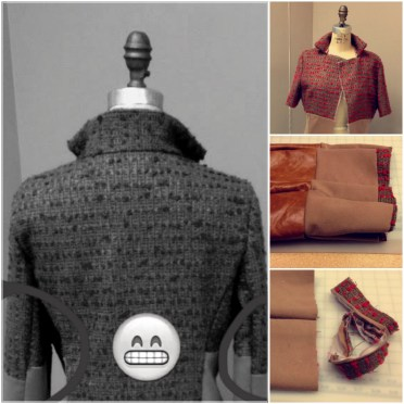 Red Beige Tweed Cashmere Genuine Leather Custom Jacket