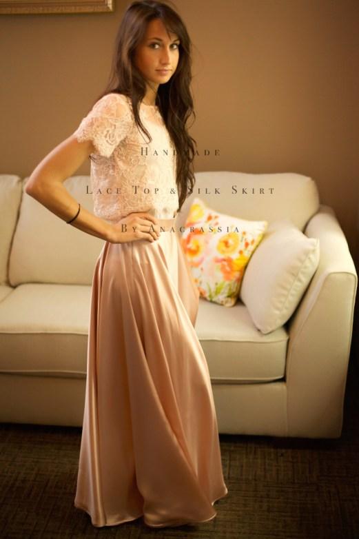 Pink Blush Alencon Lace Crop Top Bodysuit & Long Dusty Rose Skirt For Bride Bridesmaids Wedding, Custom Handmade, Ukrainian Seamstress, Dress, Ivory, Chantilly