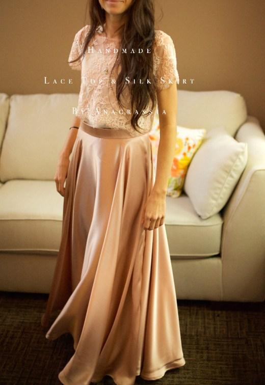 Pink Blush Alencon Lace Crop Top Bodysuit & Long Dusty Rose Skirt For Bride Bridesmaids Wedding, Custom Handmade, Ukrainian Seamstress, Dress, Ivory, charmeuse