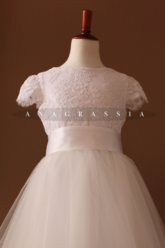 White Embroidered Communion Dress Recycled Made from Wedding gown flower girl skirt pink floral back satin buttons sewing blog handmade Ukrainian seamstress