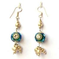 Handmade Earrings having Teal Glitter Beads with ...