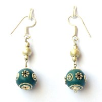 Handmade Earrings having Blue Beads with Metal Rings ...