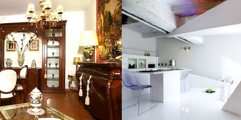 Pareti color carta da zucchero e bianco per un soggiorno classico. Arredamento Classico O Moderno Maruti Mobili