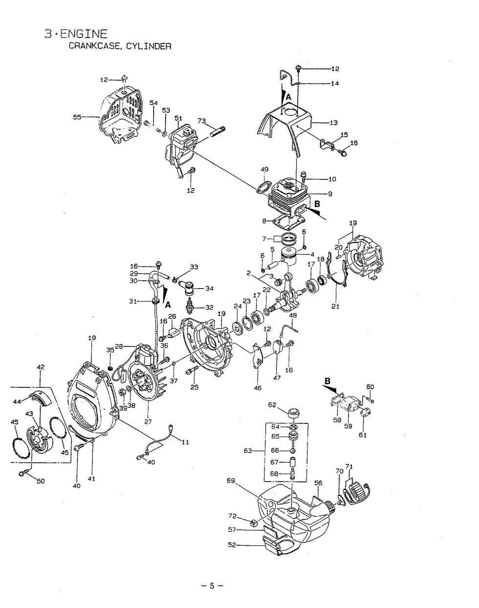 Maruyama Parts BC480 Engine Crankcase Cylinder