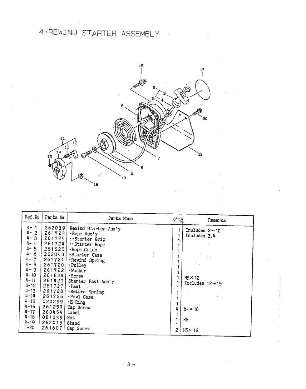 Maruyama Parts BC260C Rewind Starter