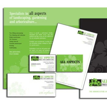 Corporate folder leaflets and stationary