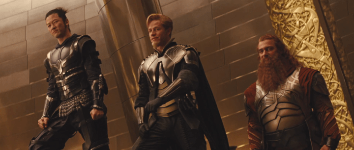 Tadanobu Asano, Josh Dallas and Ray Stevenson as the Warriors Three in Thor (2011)