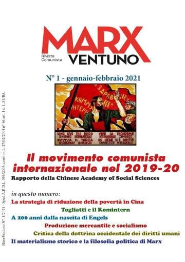 Copertina rivista MarxVentuno n. 1 del 2021 Il movimento comunista internazionale
