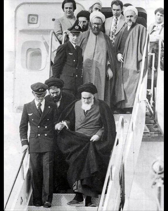 Imam Khomeini in Mehrabad Image public domain