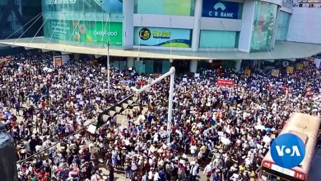 MM Protests 2021 Image VOA Burmese