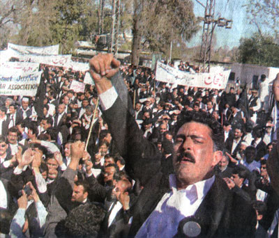 PTUDC leader Ejaz Khan Advocate leading lawyers demonstration in Peshawer (NWFP)