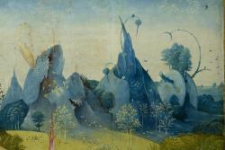 """Detalle de las montañas de """"El jardín de las delicias"""" del Bosco"""
