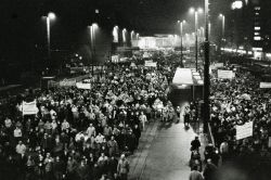 A Monday demonstration in Lepzig in January 1990. Photo by Zumpe.