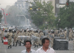 Security forces at the demonstration on July 21. Photo by .faramarz