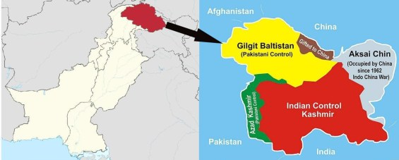 Kashmir Gilgit Baltistan India China Pakistan map