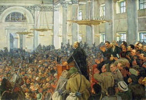 first-appearance-of-lenin-at-a-meeting-in-smolny-the-petrograd-soviet-on-oct-25-1917-