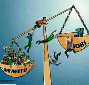 universities vs jobs cartoon