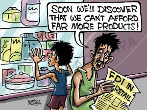 common man FDI cartoon indian political cartoons