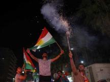 کرد عوام آزادی ریفرنڈم کے بعد جشن مناتے ہوئے