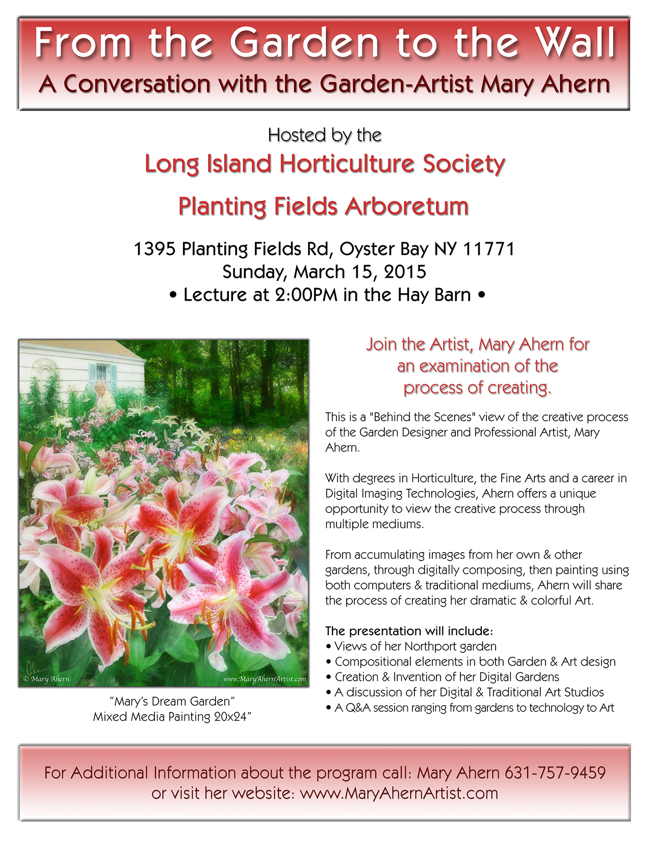 From the Garden to the Wall- Lecture by the Artist, Mary Ahern