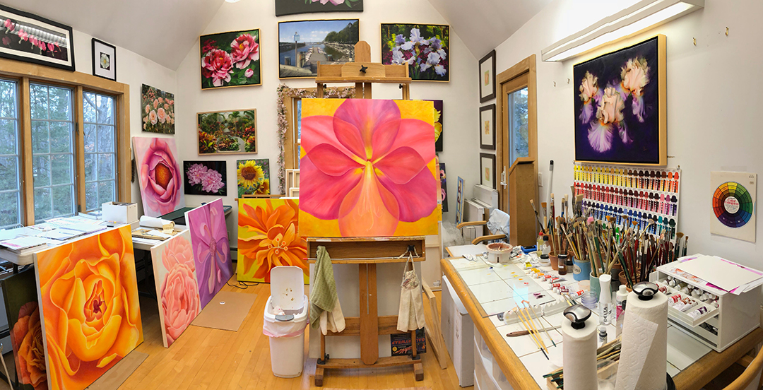 Mary Ahern Studio with Work in Progress for show at the Bayard Cutting Arboretum