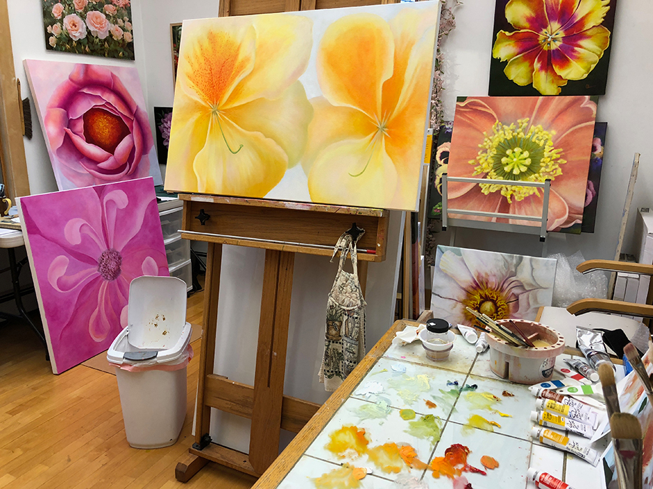 My Painting Studio. Mary Ahern Artist.