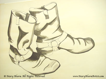 Frye Boots in a wash drawing