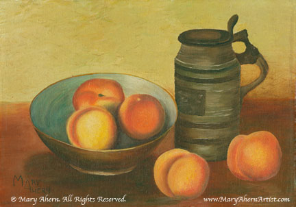 Still LIfe with Peaches by Mary Ahern