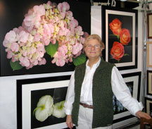 Mary Ahern with her Digital Mixed Media Paintings