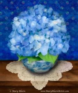 Blue Hydrangeas in Delft Blue Pot