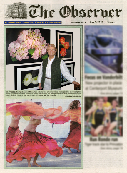 The Northport Observer cover story of Northport Art in the Park featuring Mary Ahern the Artist.