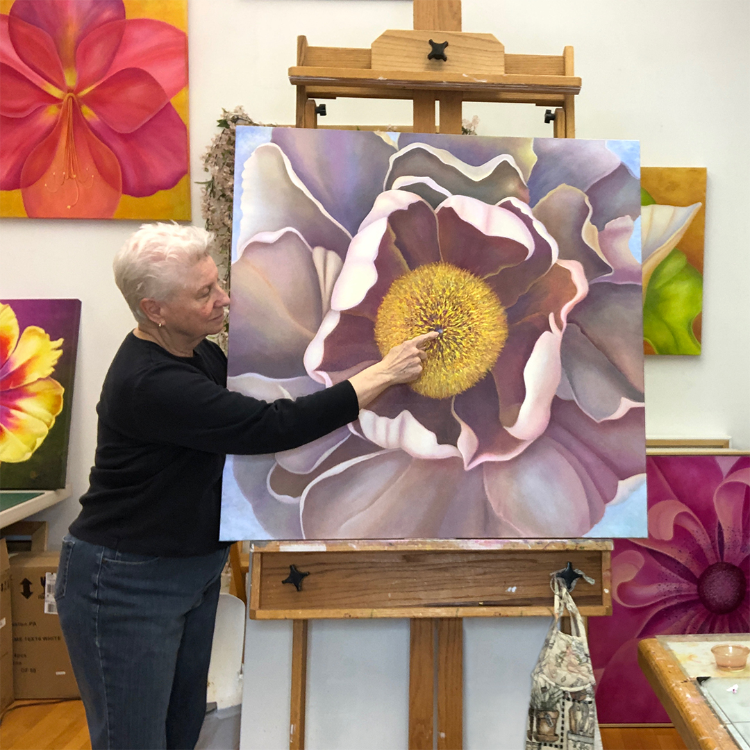 Mary Ahern the artist in her studio