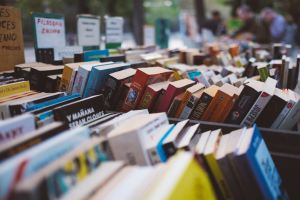 short fiction versus long: racks of books at bookstore