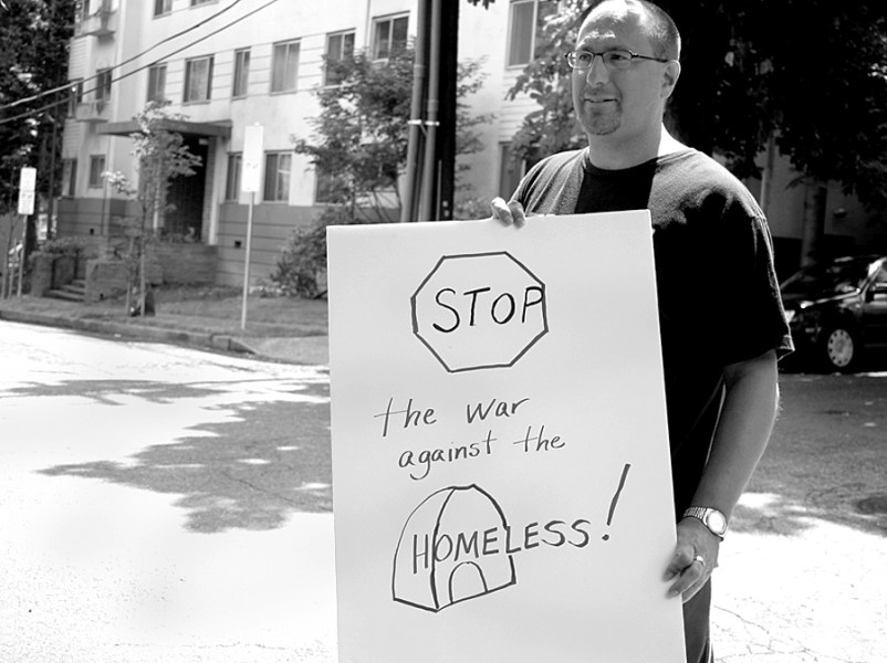 Michael Davis joined in solidarity with housed and unhoused protestors in NW Portland to protest the mistreatment of our homeless community by Elephant Delicaessen's management team, located on NW 22nd. Photo © June 16, 2016 Mary Anne Funk