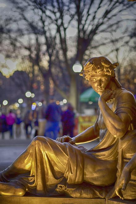 Ornate figure on the fountain in the Boston Common.
