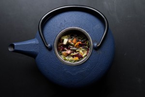 blue tea kettle with contents