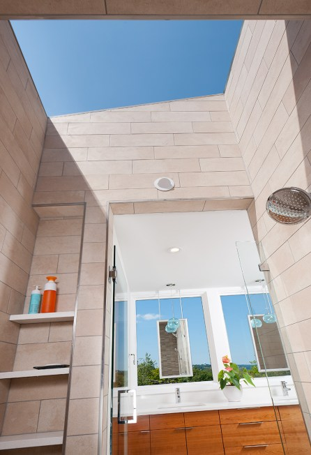 Shower open to the sky courtyard house Mary Cerrone Architecture & Interiors Pittsburgh