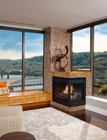 corner fireplace Mary Cerrone Architecture & Interiors Pittsburgh