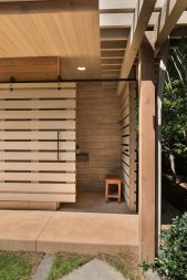 Pool Pavilion, Shower and Toilet Room Facade, Detail. Mary Cerrone Architect, Shadyside, PA
