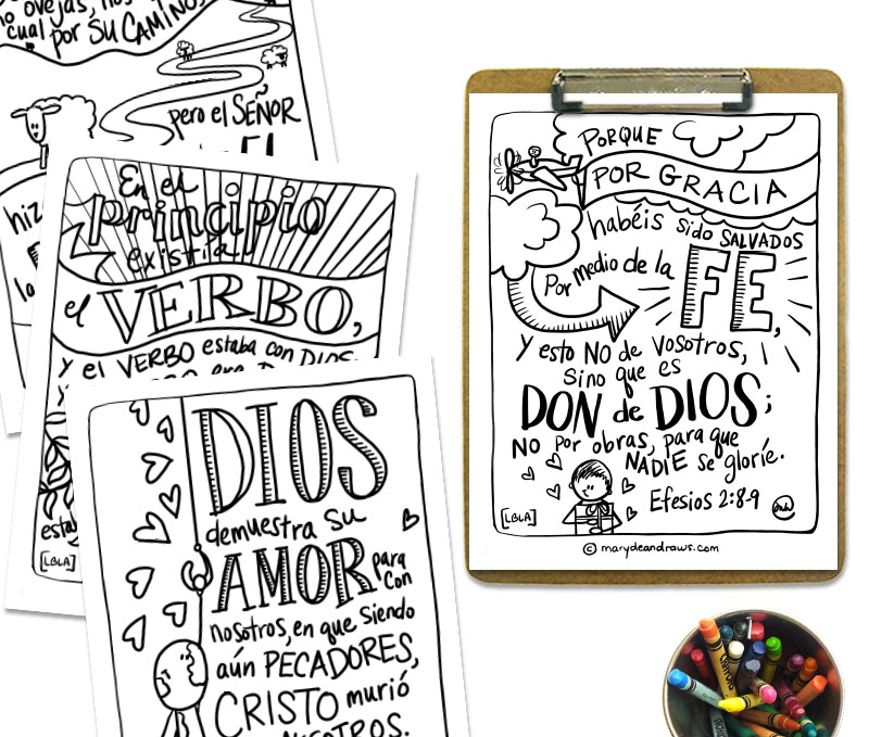 - Printable Bible Verse Coloring Pages + Cards: GOOD NEWS STORY (Spanish)