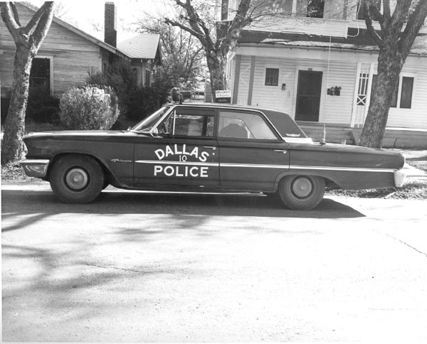 Dallas Police Officer J. D. Tippit's patrol car, on E. 10th St, in Dallas, on November 22, 1963