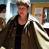 Just had to try on the Inverness Coat ... I am making a knitted version for a project!