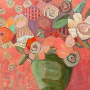 """February Bouquet: 30 x 30"""" acrylic on canvas"""