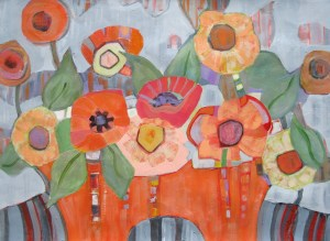 "Poppy Planter: 24x30"" mixed water media on paper"