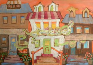 "White Music House: 15 x 20"" mixed water media on ppaer"