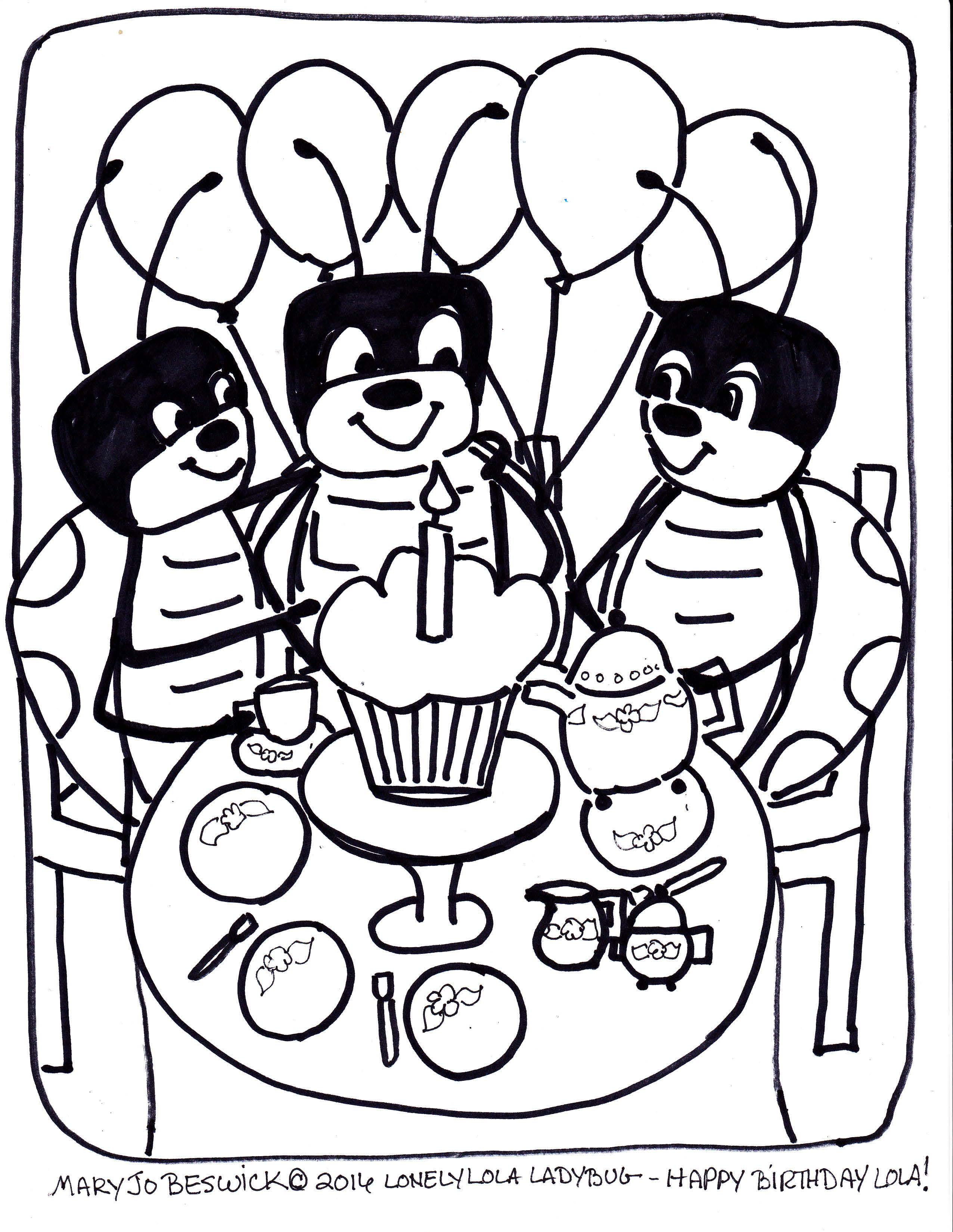 lola ladybug free coloring page birthday mary jo beswick