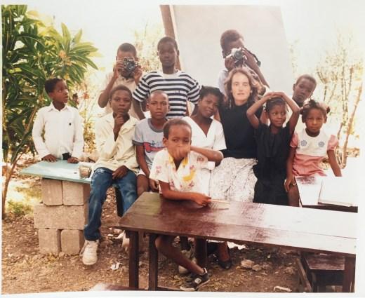 Mary Kay with her students in Kaliko Beach, Haiti, 1990