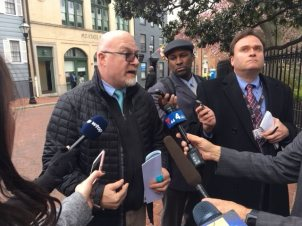 Patrick Moran, president of AFSCME Maryland Council 3, talks to reporters in Annapolis last year. File photo