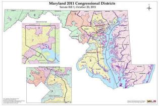 Maryland's current congressional district map, approved by the General Assembly in 2012, faced legal challenges that made it up to the U.S. Supreme Court, where justices decided it was not the court's place to weigh in on state-level political gerrymandering disputes. Maryland Department of Planning image.