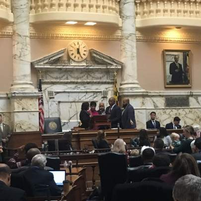 Del. Adrienne A. Jones (D-Baltimore County) is sworn in as Speaker of the House of Delegates. Jones is the first woman and the first African American lawmaker to serve in the leadership post. Photo by Hannah Gaskill.